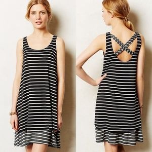 Anthro Puella black white striped Duet dress Small